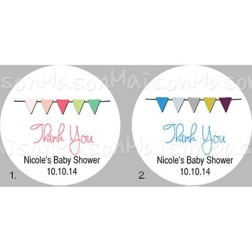 "Bunting Flags Banner Baby Shower Stickers Grey Pink Coral Blue - Mason Jar Stickers 2 or 2.5"" round"