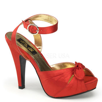 Pinup Couture Bettie Red Satin Platforms