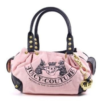 Juicy Couture Old School Baby Fluffy Handbag Purse Tote Bag Pink