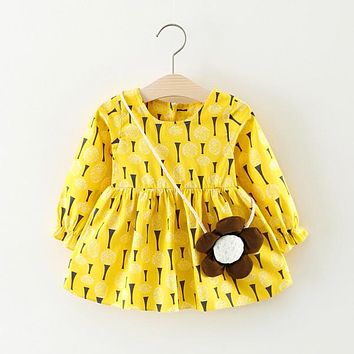 Baby Clothing Printed Baby Girls Dresses Cotton Long Sleeves Baby Dresses Flower Cute Baby Dress