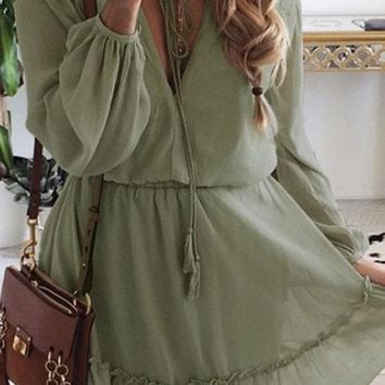 Greyish-green Lace-up Details Off Shoulder Lantern Sleeves Mini Dress
