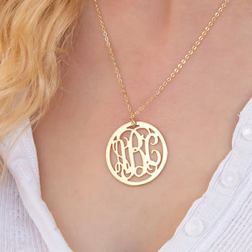 Lowest price on Etsy - Round Monogram Necklace - 1.25 inch Personalized Monogram - 18K Gold Plated