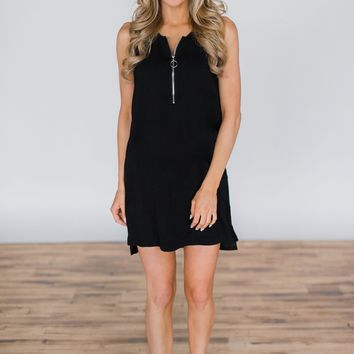 One True Love Black Zipper Dress