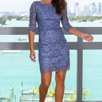 Slate Blue Short Dress with 3/4 Sleeves
