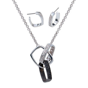 Montana Silversmiths Jewelry Sets - Square Crystal and Black Links Jewelry Set - JS1058