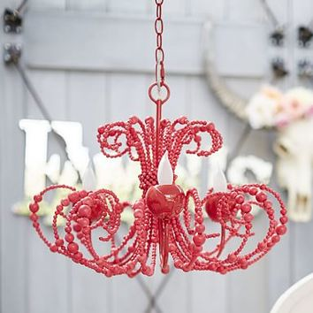 Junk Gypsy Beaded Chandelier, Red