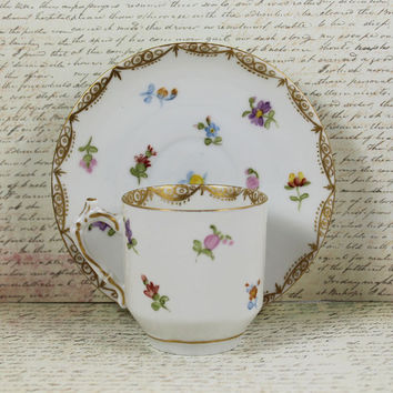 Vintage MMX Floral and Gold Gilt Demitasse Cup and Saucer