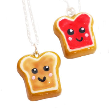 Kawaii Peanut Butter and Jelly Toast Best Friends Friendship Necklace - BFF PB&J PB