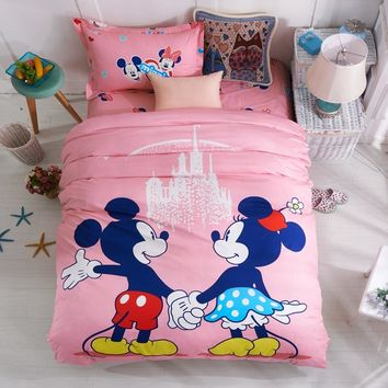 Disney Pink Mickey Minnie Mouse Bedding Sets Girls Bedroom Decor 100% Cotton Bedsheet Duvet Cover Set for 1.2m Bed Twin Single