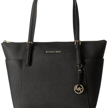 Michael Kors Women's Jet Set Large Top-Zip Saffiano Leather Tote Bag
