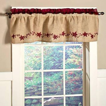 Country Star Window Valance Kitchen Dining Burlap Berry Farmhouse Style Decor