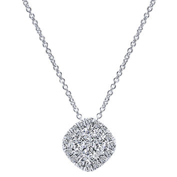 Gabriel Diamond Cushion Pave Cluster Pendant