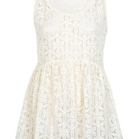 Cream Lace Smock Top