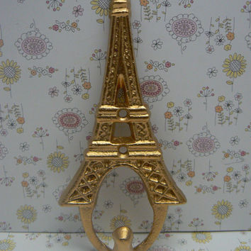 Eiffel Tower Cast Iron Metallic Gold Single Wall Hook French Home Design Wall Art Decor Paris Coat Jewelry Towel Hat Leash Key Mudroom Hook