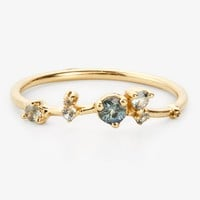 Wwake Sapphire & Diamond Organic Triangle Ring Gold