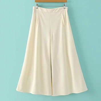 Solid Color High-Waist Culottes