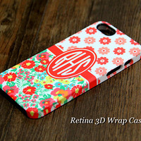 Sunflower Custom Monogram 3D-Wrap iPhone 5S Case iPhone 5 Case iPhone 5C Case iPhone 4S Case iPhone 4 Case