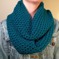 Chunky Infinity Scarf in Dark Teal Thick Crochet Bulky Winter Scarf
