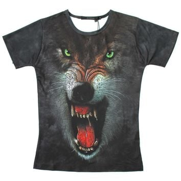 Snarling Wolf Big Face Animal Print Graphic Tee T-Shirt in Brown for Women