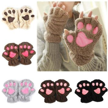 PEAPUNT Winter Lovely Women Bear Cat Claw Paw Mitten Plush Gloves 2018 Short Finger Half Gloves Ladies Half Cover Female Gloves