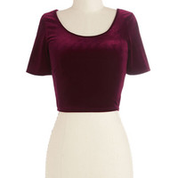 ModCloth Vintage Inspired Short Length Short Sleeves Cropped On Crop of the World Top in Garnet Velvet