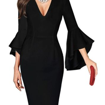 HEE GRAND Work Business Dress Womens Sexy Deep V-neck Flare Bell Long Sleeves Casual Party Dress Office Lady WQL5741