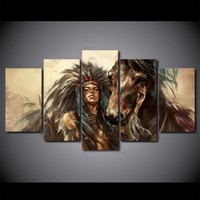 American Indian Girl Horse Wall Pictures on Canvas