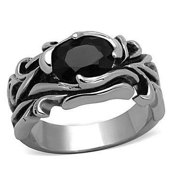 WildKlass Stainless Steel Solitaire Ring High Polished (no Plating) Men Synthetic Jet
