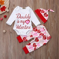 Daddy Is My Valentine - Girl Baby Kid Child Toddler Newborn Top & Pants
