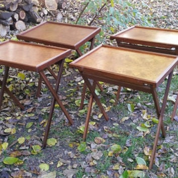 Delicieux Vintage Mid Century Burl Wood Folding TV Tray Table Set Of 4 With Stand  Bluff City