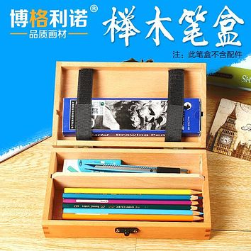 Painting Pencil Case Sketch Wood PencilCase Holders School Art Oil Painting Sketch Supplies Square Stationery Brush Pen Dye Box