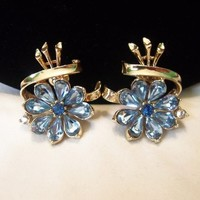 CoroCraft Coro FanFare Flower Earrings Blue Glass Rhinestone Vintage Rhinestone Pristine