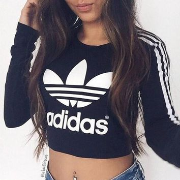 """Adidas"" Sexy Short Shirt Crop Long Sleeve Top Tee"