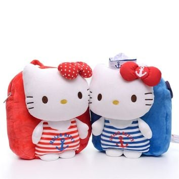 26cm Sweet Navy Hello Kitty Plush Toy Children Backpack Kids Bag For Children's Gift