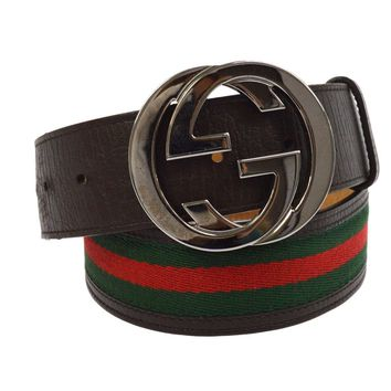 Authentic GUCCI Shelly Line Buckle Belt Brown Green Leather Vintage M13264