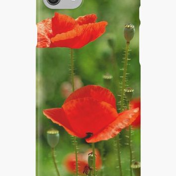 'Red poppies in summer' iPhone Case/Skin by victorsboutique