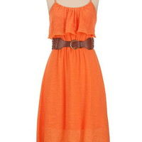 Belted Ruffle Front High-Low Hem Tank Dress