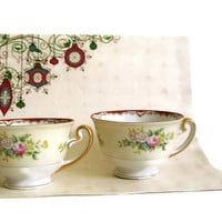 Vintage Mieto Hand Painted China Tea Cups Japan Set of 2