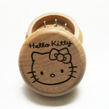 Oak Wood burned herb grinder  / Hello Kitty