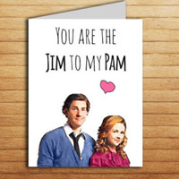 The Office Valentine's Day Card You're the Jim to my Pam Printable Funny Valentines Gift for Boyfriend Gift for Girlfriend Romance Love card