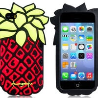 3D Pineapple Design Silicone Case for iPhone 5S/ 5 (Red)