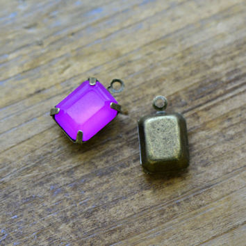 4 - Small Rectangle Jewel Charms FUCHSIA PINK Drop Gem Rectangle 8x10mm Brass Claw Setting Charm or Link Gold Antique Bronze Silver (AW050)