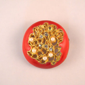 Vintage Red Enamel And Gold Color Brooch With Faux Pearls And Faux Diamonds, Vintage Round Red Enamel Brooch Accessory For Women