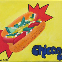 Chicago hotdog oil painting, orignal canvas 8x11, blue letters, yellow background, red highlights