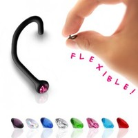 Black BioFlex Nose Screw with Gem - Flexible - 18G - 2mm Ball Size - Sold Individually