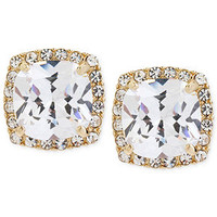 Betsey Johnson Gold-Tone Glass Crystal Square Stud Earrings