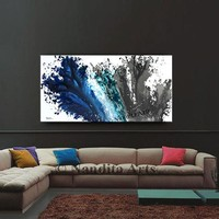 Blue Gray Wave Modern Splash Painting, Abstract Modern Art, Abstract Splash Art, Teal Modern Wall Art on Canvas by Nandita 48x24in /120x60cm