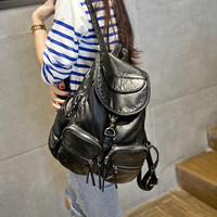 Cute Black Leather Large Backpack Daypack Travel Bag Motorcycle Bag