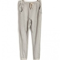 Gray Loose Fit Sporting Pants with Drawstring Waist and Elastic Cuffs