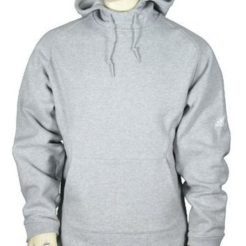 Adidas Mens Sueded Hooded Fleece Pullover, Hoodie, Gray (X-Large)